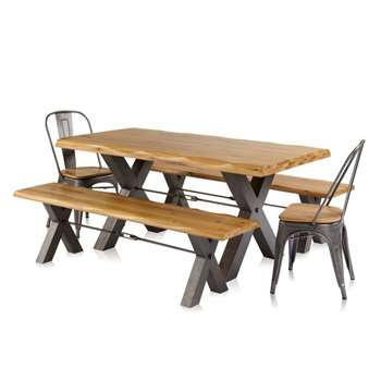 Brooklyn Living Edge Dining Table with 2 Benches and 2 Chairs (H77.5 x W180 x D90cm)