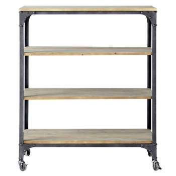 BROOKLYN Metal and wood industrial console table on castors in charcoal grey (107 x 88cm)