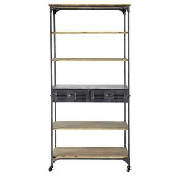BROOKLYN Metal industrial shelf unit on castors in charcoal grey W 92cm