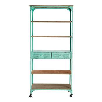 BROOKLYN Green Metal and Fir 2-Drawer Display Shelf on Castors (H196 x W92 x D39cm)