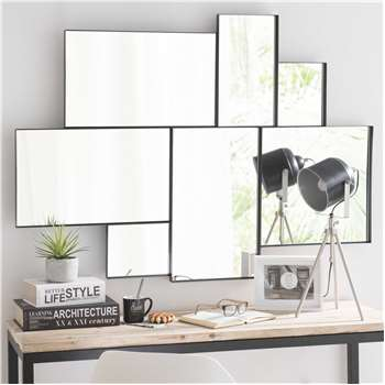 BROOKLYN metal mirror in black H 123cm