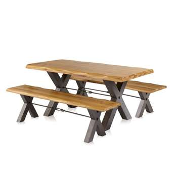 BROOKLYN - Natural Solid Oak 6ft Dining Table with 2 Benches and Tension Bar (H78 x W180 x D90cm)