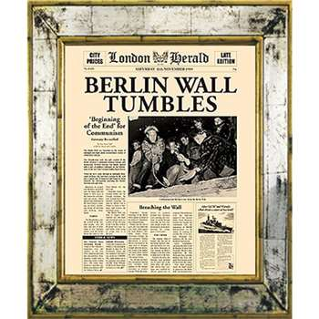 Brookpace, The Versailles Collection - Berlin Wall Tumbles Framed Print (H55 x W45cm)