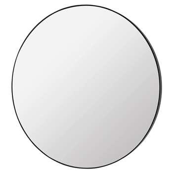 Broste Copenhagen - Complete Round Mirror - Black Wood Frame (Diameter 80cm)