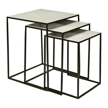 Broste Copenhagen - Freja Nesting Table - Set of 3 - Black/Dove (H50 x W40 x D40cm)