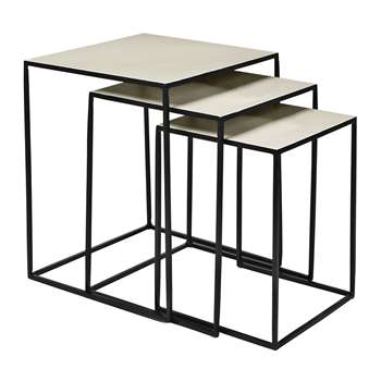 Broste Copenhagen - Freja Table - Set of 3 - Black/Dove (50 x 40cm)