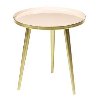 Broste Copenhagen - Jelva Side Table - Brass/Linen - Small (H37 x W35 x D35cm)