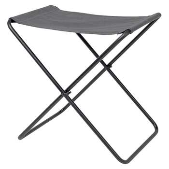 Broste Copenhagen - Nola Stool - Canvas/Iron - Dark Shadow/Black Legs (H45 x W39 x D31cm)