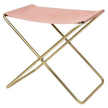 Broste Copenhagen - Nola Stool - Canvas/Iron - Rose Down/Brass Legs (H45 x W39 x D31cm)
