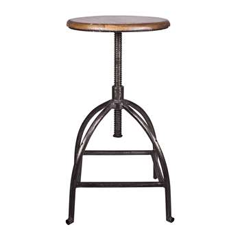 Broste Copenhagen - Sire Stool - Wood/Iron - Natural (H77 x W33 x D33cm)