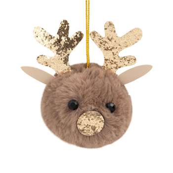 Brown and Golden Reindeer Hanging Christmas Decoration (H9.5 x W7 x D6.5cm)