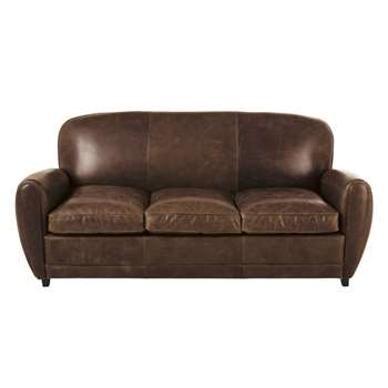 Brown Vintage 3-Seater Leather Sofa Bed Oxford (H92 x W196 x D107cm)
