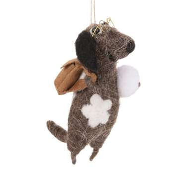 Brown Wool Mouse with Glasses Christmas Hanging Decoration (H12 x W6 x D6cm)