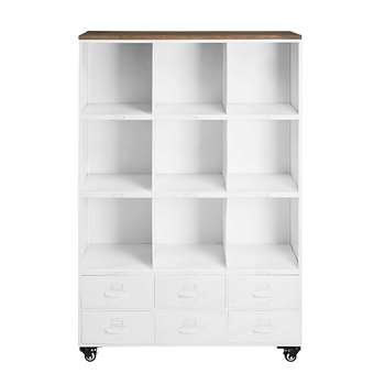 BRUCE Wheeled bookcase in white metal and pine (137 x 93cm)