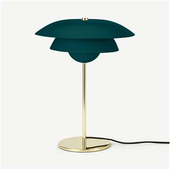 Brunswick Layered Table Lamp, Green & Brass (H45 x W33 x D33cm)