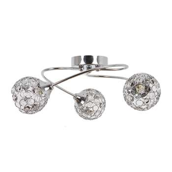 Bryn 3 Light Ceiling Light Polished Chrome (H15 x W44 x D44cm)