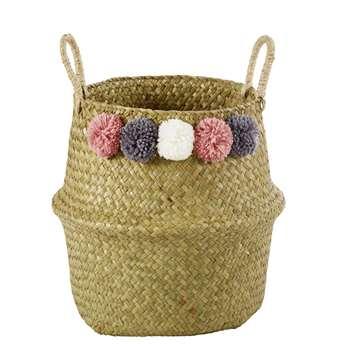 BUCOLIQUE Plant Fibre Collapsible Basket with Pom Poms H 28 (H28 x W34 x D34cm)