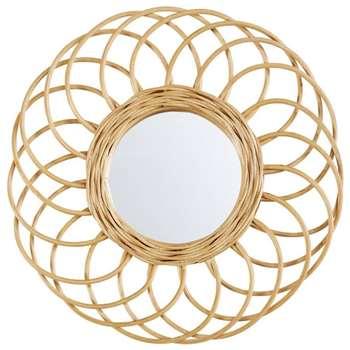 BUCOLIQUE Round Rattan Mirror (Diameter 34cm)