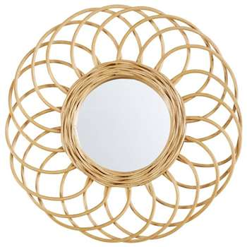 BUCOLIQUE Round Rattan Mirror (H34 x W34cm)