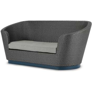 Bulao Garden 2 Seater Sofa, Rattan and Blue (H82 x W190 x D76cm)