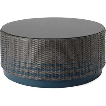 Bulao Garden Coffee Table, Rattan and Blue (H37 x W80 x D80cm)