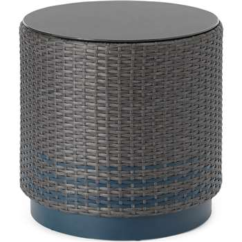 Bulao Garden side table, Rattan and Blue (H47 x W45 x D45cm)