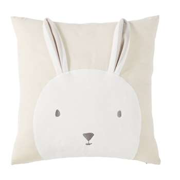 BUNNY Taupe Organic Cotton Cushion Cover with Ecru Rabbit Print (H40 x W40 x D10cm)