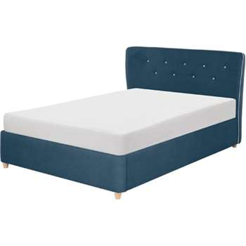 Burcot Double Bed, Blue with Contrast Piping (104 x 217cm)