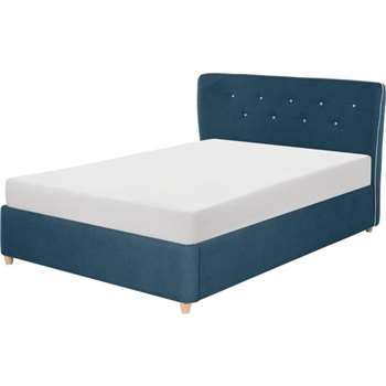Burcot King Size Bed, Blue With Contrast Piping (104 x 225cm)
