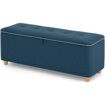 Burcot upholstered storage bench, Blue With Contrast Piping (H48 x W124 x D43cm)