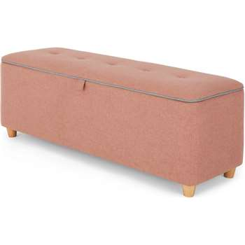Burcot Upholstered Storage Bench, Dusk Pink and Cool Grey (H48 x W124 x D43cm)