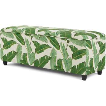 Burcot Upholstered Storage Bench, Leaf Print (H48 x W124 x D43cm)