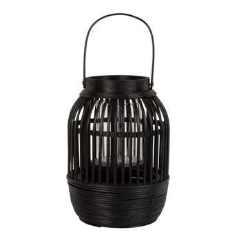 BURURI - Black Woven Bamboo Lantern (Height 19cm)