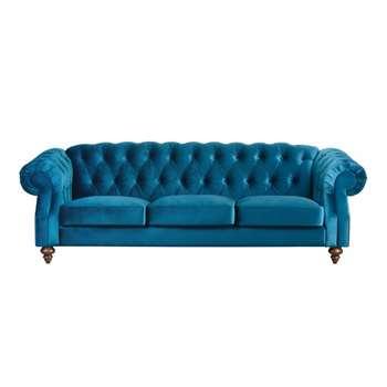 Buster 3 seat sofa Genova Peacock (84 x 256cm)