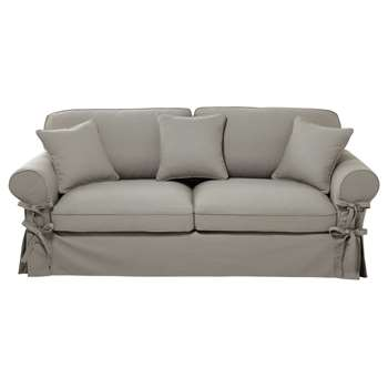BUTTERFLY 3/4 seater cotton sofa bed in light grey, mattress 12 cm (86 x 213cm)