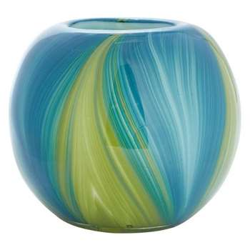 Butterfly Home by Matthew Williamson Blue and Green Swirl Bowl Vase, Multicoloured (29.5 x 16cm)