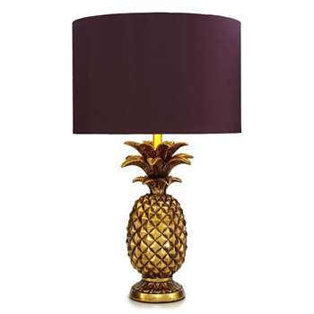 Butterfly Home by Matthew Williamson Gold Pineapple Shaped Table Lamp (57 x 34cm)