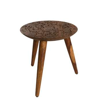 By Hand Side Table in Solid Sheesham Wood 37 x 35cm
