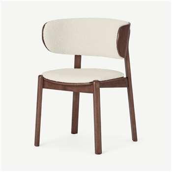 Byrom Dining Chair, Whitewash Boucle & Walnut (H76 x W54 x D53cm)