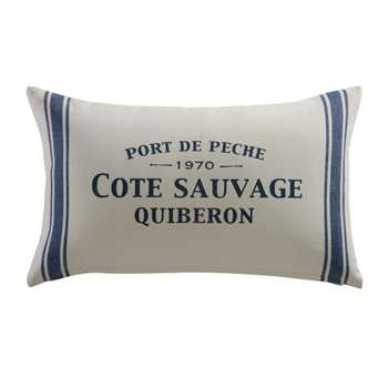 CÔTE SAUVAGE cotton cushion in blue / white (30 x 50cm)