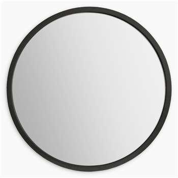Cade Round Mirror, Black (H80 x W80 x D8.5cm)