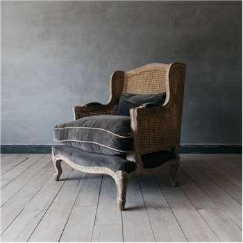 Caden Cane Grey Velvet Armchair (H100 x W86 x D68cm)