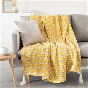 CADES - Cotton throw with yellow print (H160 x W210cm)