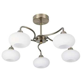 Caen 5 Light Ceiling Light Antique Brass (H25.5 x W50 x D50cm)