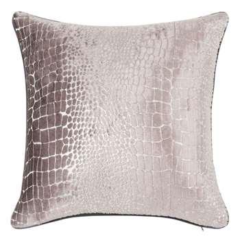 CAIMAN Crocodile Skin Effect Silver Cushion Cover (H40 x W40cm)