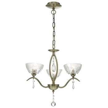 Cait 3 Light Ceiling Light Antique Brass (H120 x W35 x D35cm)