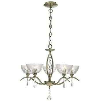 Cait 5 Light Ceiling Light Antique Brass (H120 x W45 x D45cm)
