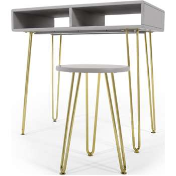 Cal Desk and Stool Set, Grey and Brass (H75 x W80 x D45cm)