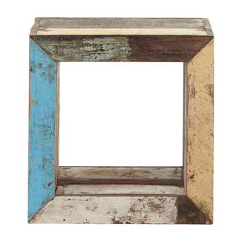CALANQUE Recycled wood cube side table, multicoloured (40 x 40cm)