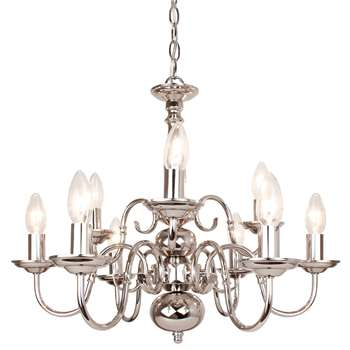 Caledonian 9 Light Ceiling Light Polished Nickel (H94 x W56 x D56cm)
